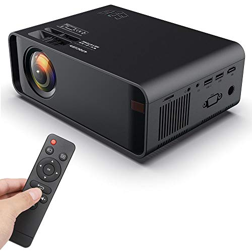 EBTOOLS1 Proyector LED portátil, Mini proyector HDMI USB, proyector de Video Full HD, proyector Multimedia, para Cine en casa, Soporte para USB Dual/HDMI/VGA/AV(Schwarz)