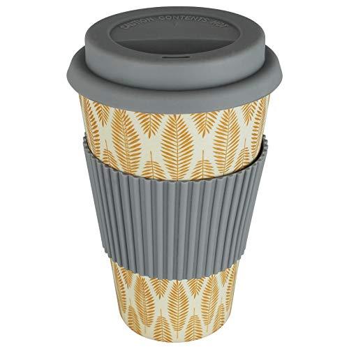 TW24 Coffee2Go Becher 400ml mit Motivwahl Kaffeebecher Trinkbecher Kaffee to Go Becher Bambusbecher (dunkelgrau-gelb)