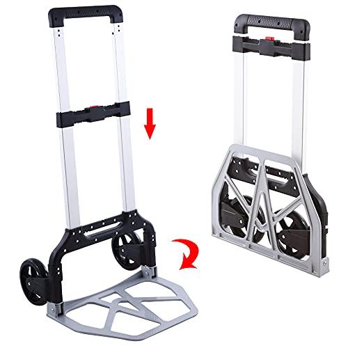 Carrello pieghevole in alluminio per carichi pesanti   Carrello pieghevole   Grandi ruote scorrevoli con battistrada morbide, colore: nero + alluminio (150 kg)