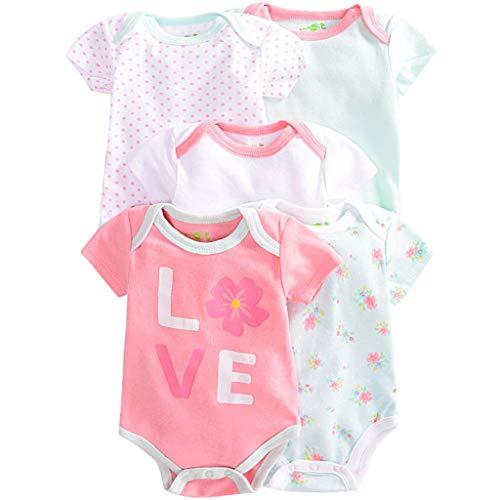 Pack de 5 Bebé Body Mono de Manga Corta Mameluco Algodón Peleles Comodo Pijama Regalo de Recien Nacido, 9-12 Meses