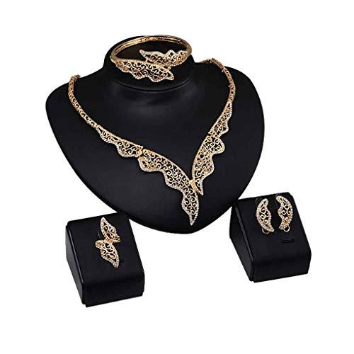 Amplia Cadena única Irregular Partido del Collar de aleación de Cristal Conjunto de Usar Joyas Conjunto del Partido de Oro Antiguo del Tono joyería