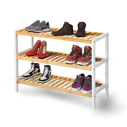 KEPLIN Bamboo Shoe Rack, Easy Build With 3 Shelves, Large Storage Capacity Wooden Shoe/Trainer Stand and Organiser, up to 12 Pairs, Perfect for Hallway, Bedroom, Small Spaces Brown/White