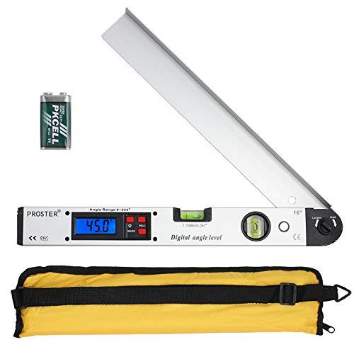 Proster Digitaler Winkelmesser 0-225 ° Digital Winkelmesser mit Wasserwaage und LCD Beleuchtetung 400 mm / 16 Zoll Winkelmessgerät mit Batterie und Tasche für Bedachungstechnik -Silber