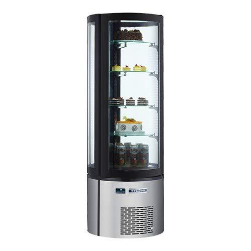Kuchenvitrine rund Kühlvitrine 290L Standgerät, LED Beleuchtung, 4 Glasplatten drehbar, 175(H) xØ85cm
