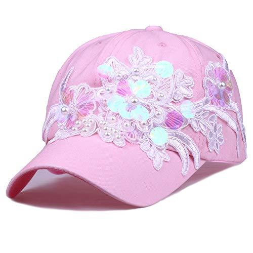 KAILLEET Sombrero De La Mujer Moda Lentejuelas Flor Set Perla Gorra De Béisbol Sombrero De Algodón AliExpress Ebay Dunhuang Taobao Suministro (Color : Pink3)