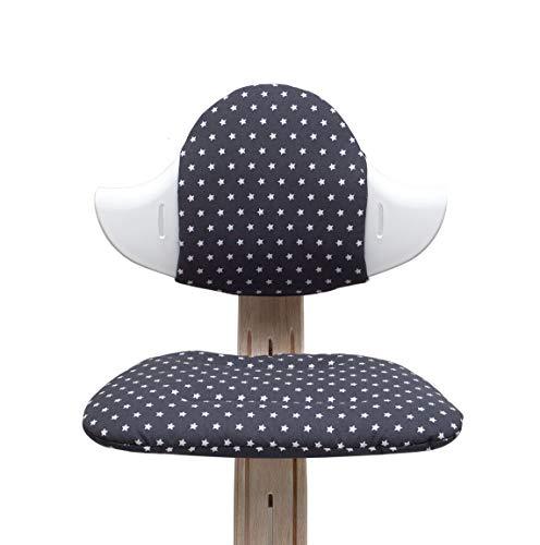 Blausberg Baby - BESCHICHTET - Sitzkissen Set für Nomi Hochstuhl von Evomove - Dunkelgrau Anthrazit Stern