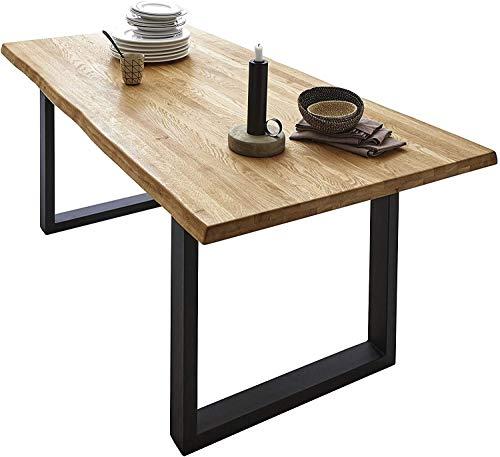 SAM Esszimmertisch 260x100cm Richard, echte Baumkante, Wildeiche massiv & geölt, Eichen-Baumkantentisch mit U-Metallgestell Mattschwarz