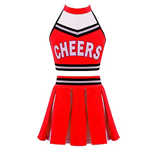 TiaoBug Enfant Fille Déguisement Pom-Pom Girl Costume Halloween Carnaval Uniforme Cheerleads Haut Top et Tutu Jupe Robe Danse Gymnastique Tenues de Fête 6-16 Ans Rouge 14 Ans
