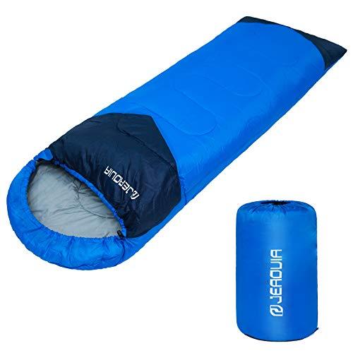 JEAOUIA Saco de Dormir para Acampar - Ligero - Compacto - Impermeable - Saco de Dormir para Adultos, Compacto de 3 Estaciones para Senderismo, Viajes, Interiores y Exteriores