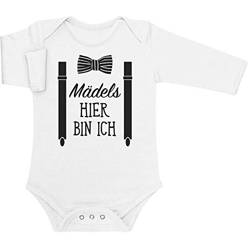 Shirtgeil Mädels, Hier Bin Ich! - Geschenk für Neugeborene Baby Langarm Body 0-3 Monate Weiß