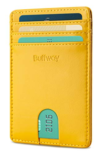 Buffway Mens Slim Wallet, Minimalist Thin Front Pocket Leather Credit Card Holder with RFID Blocking for Work Travel - Seattle Yellow