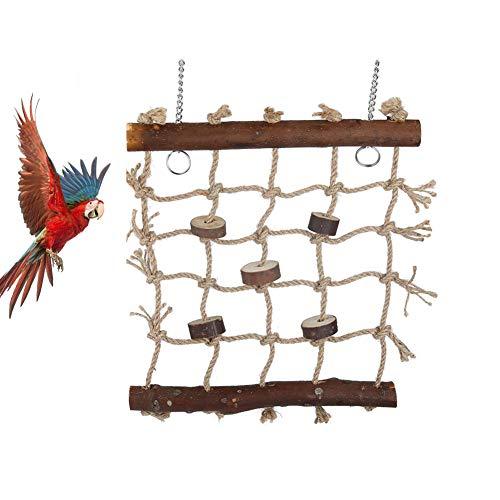 Vogel schommels, Houten Ladder Swing Hangmat met 2 haken en geweven touw voor papegaaien, Budgies, Parakeets, Cockatiels, Conures, Macaws, Lovebirds, Finches Klimmen Kauwen Huisdier kooi Hangend Speelgoed