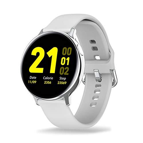LXF JIAJU Smart Watch Hombres Mujeres Pantalla Táctil Completa ECG IP68 Relojes De Podómetro a Prueba De Agua Monitor De Ritmo Cardíaco Presión Arterial Deporte Smartwatch (Color : White)