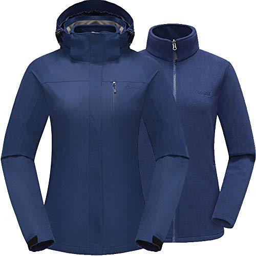 Cleesmil Damen 3 in 1 Wasserdicht Outdoor Skijacke Winterjacke mit Abnehmbare Fleecefutter und Kapuze Winddichte Bergmantel Navy Blau (XL)