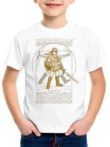 style3 Vitruvianischer Link T-Shirt für Kinder Zelda SNES NES Legend Ocarina, Farbe:Weiß, Größe:152