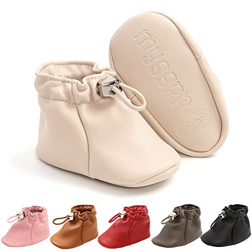 Baby Boots for Infant Boys Girls PU Leahter Soft SoleToddler Stay On Ankle Booties Baby First Walker Shoes(acricot,2) Apricot