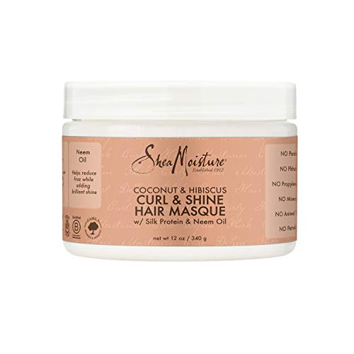 SheaMoisture Hair Masque for Dry Curls Coconut & Hibiscus Hair Mask with Shea Butter 12 oz