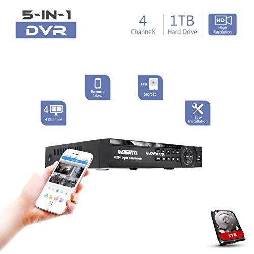 Deatti 5-in-1 Hybrid DVR Überwachungs System mit vorinstallierter Festplatte, 1080p Lite CCTV DVR Rekorder, unterstützt AHD/CVI/IP/TVI/960H, Analogkameras