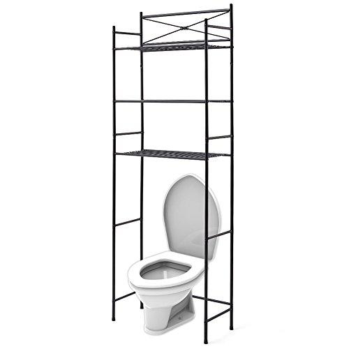 EZOWare 3 Ebenen Teleskop Regal aus Metall, Toilettenregal für Badezimmer, Waschmaschine - Schwarz