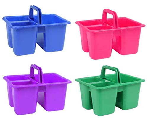 Kids Arts & Crafts Small Plastic Caddies with Handles, 3 Compartments, Assorted Colors, 4-ct Set