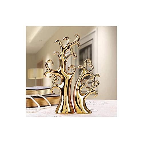 W88angchuangqiu Decorazioni per la casa Statue 2 Pezzi Ceramica Albero de-ll'amore Scultura Creativa Artigianato Ornamenti Display Artistico Regalo di Nozze (Due Alberi d'oro)