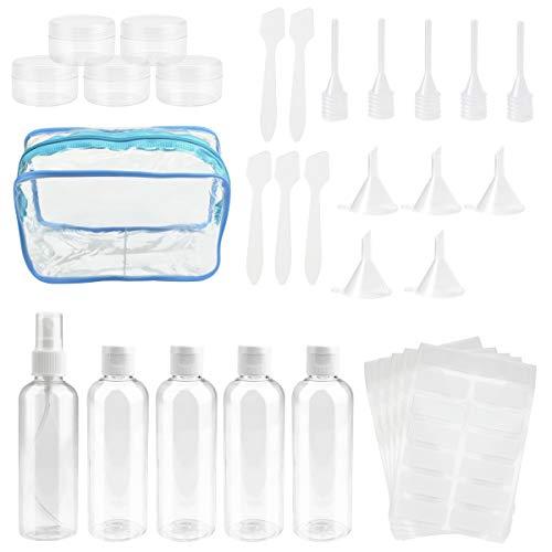 CODIRATO Botellas de Viaje Plástico Botes Viaje Transparente Botella de Spray Vacios con Bolsa de Cosméticos Impermeable para Vacaciones de Viaje de Excursión (Máximo 100ml)