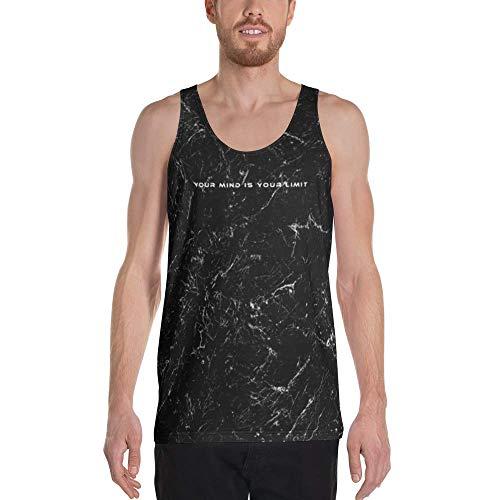 Your Mind Is Your Limit - Camiseta sin Mangas para Hombre Fitness, Gimnasio y Ocio, Transpirable, con diseño único, Color Blanco y Negro Sarluno S