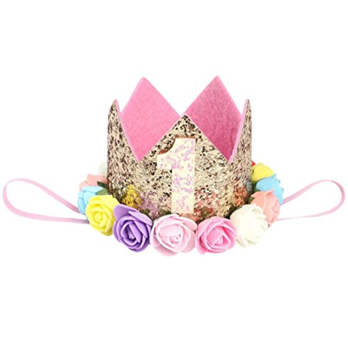 Huhu833 Baby Stirnbänder Mädchen Pailletten Kopf Zubehör Stirnband Baby Rose Elastic Geburtstag Anzahl Krone Headwear (B1)