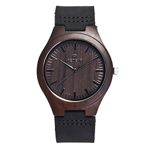 Wooden Watches for Men Slim Analog Quartz Minimalist Wrist Watch
