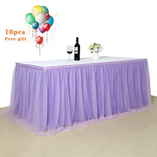 Light purple Tulle Tutu Table Skirt 3 yards Tulle Table Cloth Skirt Customized Romantic Girl Princess Birthday Party Table Skirts Banquet Table Decorations L9ft H 30in