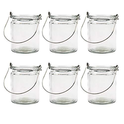 BODA Creative Windlichter, 6 Stück mit Henkel, Laterne Glaslaterne Garten-Deko, Ø 7,6cm