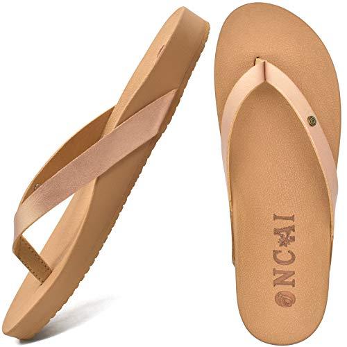 ONCAI Chanclas Mujer Verano Playa Piscina Sandalias Cuero Ultraligera Flip Flop Apoyo Del Arco Comodas Antideslizante Chancletas Goma Suela Planas Ortopedicas Zapatos Gold Talla 42