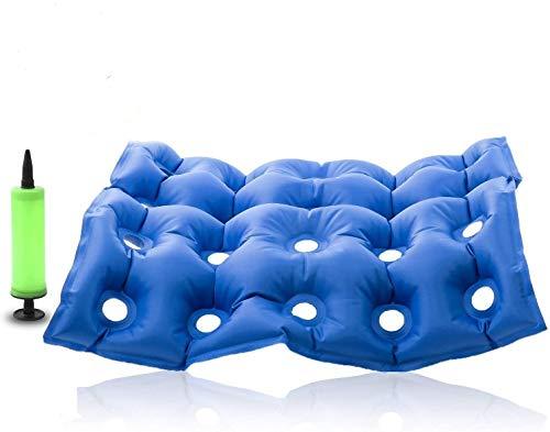 Premium Air Inflatable Seat Cushion - Comfortable Chair Cushion for Wheel Chair - Ideal for Prolonged Sitting - Ideal Seat Cushion for Daily Use (Blue)