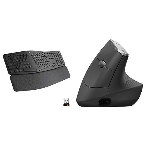 Logitech Ergo K860 Wireless Ergonomic Keyboard with Wrist Rest and MX Vertical Wireless Mouse