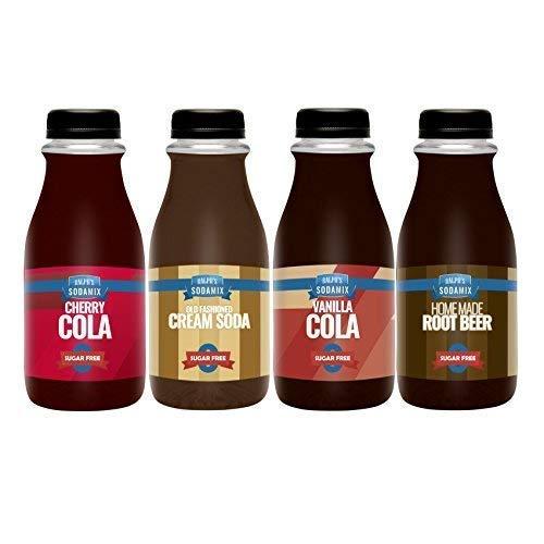Ralph's 4 SUGAR FREE Diet Sparkling Water Soda Maker Flavors Pack | Cherry Cola | Root Beer | Vanilla Cola | Cream Soda | Four 12oz Bottles | Sodamix