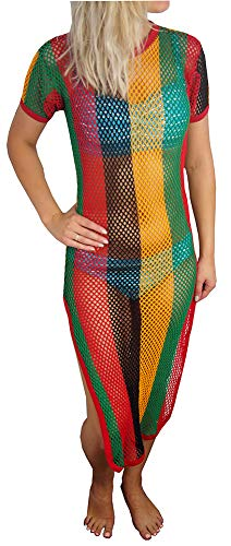 Crystal Ladies Striped Strech Rasta Maxi Dress Cover up 100% Cotton String Mesh Fishnet Short Sleeve with Side Splits One Size (One Size fits UK 6-14, Black/Red/Gold/Green)