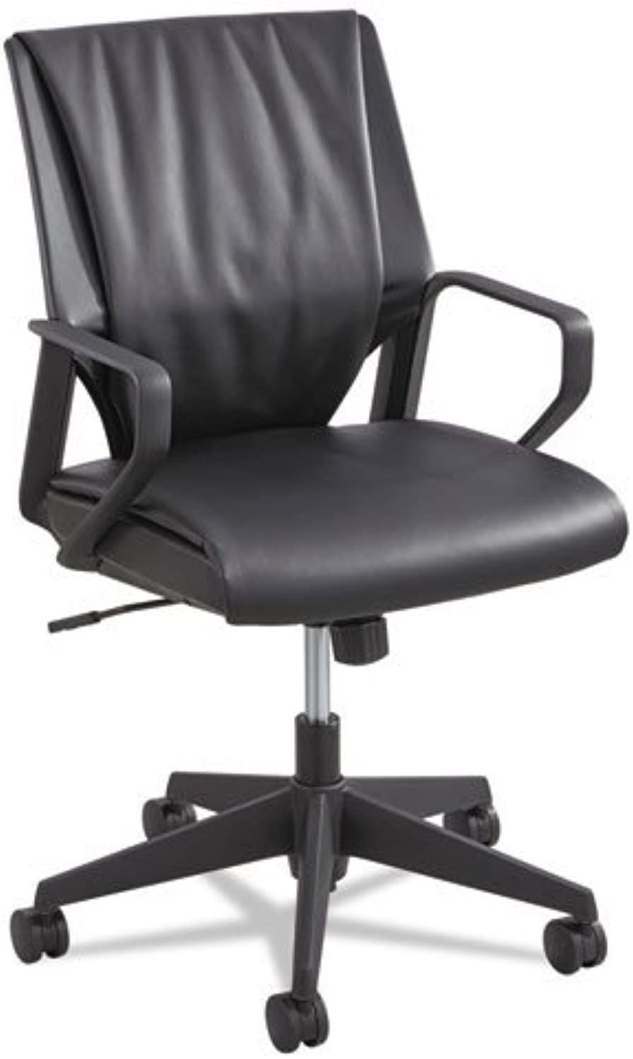 Safco Products Priya Leather Mid Back Executive Chair, Black