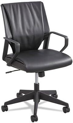 Safco Products Priya Leather Mid Back Executive Chair, Black