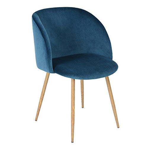 EGGREE 1er Set Vintager Retro Stuhl Sessel Polstersessel Samt Lounge Sessel Clubsessel Fernsehsessel (blau)