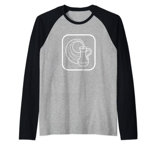 Acuario jarra de agua signo de astrología Camiseta Manga Raglan