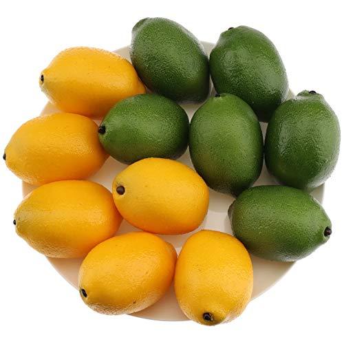 Gresorth 12 Stück Künstliche Grün & Gelb Zitrone Deko Gefälschte Früchte Obst Party Festival Dekoration