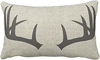 UOOPOO Deer Antlers | Lumbar Throw Pillow Case Square 16 x 24 Inches Soft Cotton Canvas Home Decorative Wedding Cushion Cover for Sofa and Bed One Side