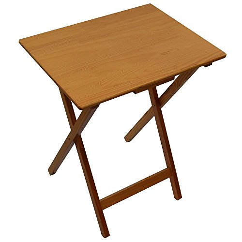 Home Vida Folding Wooden TV Dinner Laptop Snack Table, Antique Pine