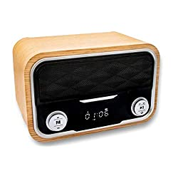 Retro Tech Multi Station - Wireless Charger Bluetooth Clock Radio - Docking Speaker for iPhone 8, x, xs 12 and 12 Pro - Wireless Phone Charging Dock, USB, FM Radio, Bamboo Color