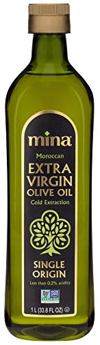 Mina Extra Virgin Olive Oil, Single Origin Gourmet Moroccan Olive Oil Cold Extracted for Exceptional Flavor and Health, Family Harvested with Full Traceability, 33.8 Fl Oz (1 Liter)