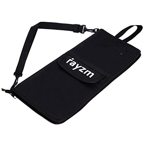 Rayzm Drum Stick Bag with an External Pocket, Standard Nylon Stick Bag with a Carry Handle and Floor Tom Hooks, Inside 4 Slots Holds up to 12 Pairs of Drumsticks, Water Resistant Nylon