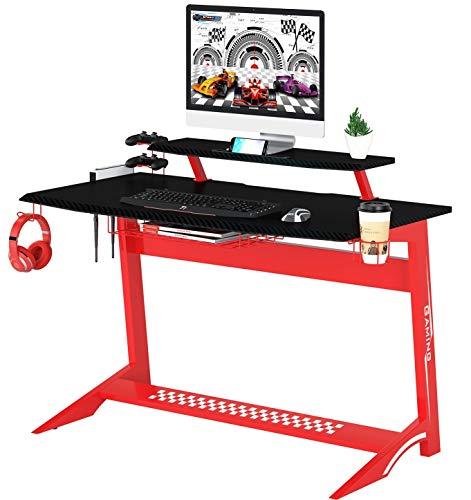 SixBros. Computertisch, komfortabler Gaming Schreibtisch in rot, Arbeitstisch für Zuhause & Home-Office, 137 x 65 cm, GT-008/8189