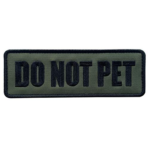 uuKen Embroidery Fabric Cloth Police K9 Service Dog Do Not Pet Embroidered Military Tactical Patch 6x2 inches with Hook Fastener Back for Tactical Vest or Harness (OD Green and Black, 6'x2')