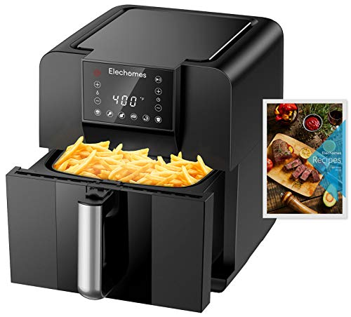 Elechomes AG61B Air Fryer, Max XL 6.3 Quart Oilless Electric Oven with Free 120 Recipes Book, Double Fan Design for Rapid Evenly Heating, LED Digital Touchscreen with 6 Smart Presets, BPA-Free Nonstick Basket, ETL Listed