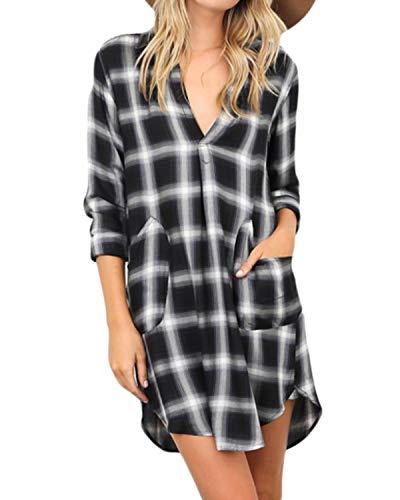 kenoce Damen Karierte Kleid V-Ausschnitt Minikleid Langarm Asymmetrisch Blusenkleid Hemdkleid Shirtkleid Longbluse Mit Taschen X-Schwarz EU 38-40/Etikettgröße M